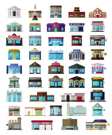 facade: Conjunto de los edificios de la ciudad isom�tricos, tiendas y otros elementos