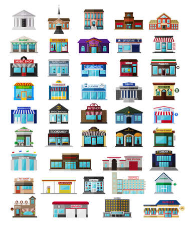 small town: Set of the isometric city buildings, shops and other elements