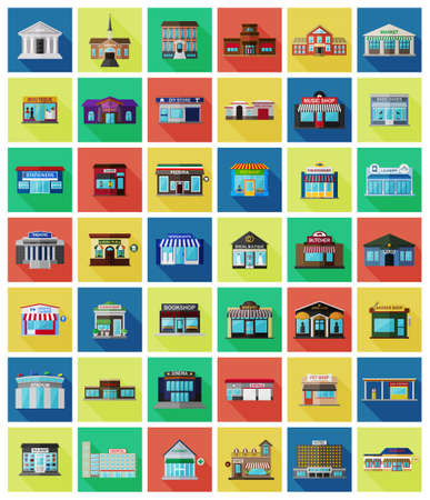 front of house: Set of the flat city buildings and shops. Vector   illustration. Stock Photo