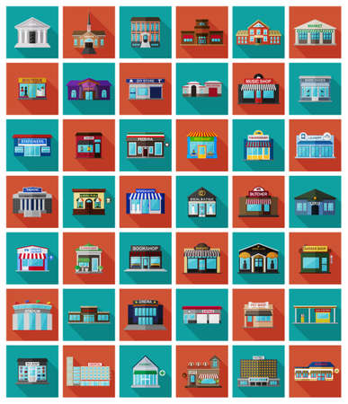 irish cities: Set of the flat city buildings and shops. Vector   illustration. Stock Photo