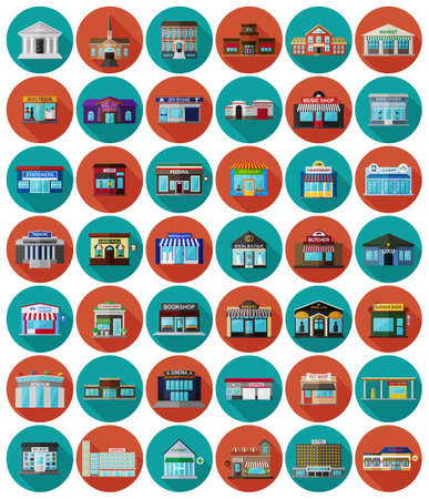 overhang: Set of the flat city buildings and shops. Vector   illustration. Illustration