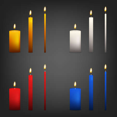 blue candles: Realistic 3d candle set on a dark background. Vector   illustration.