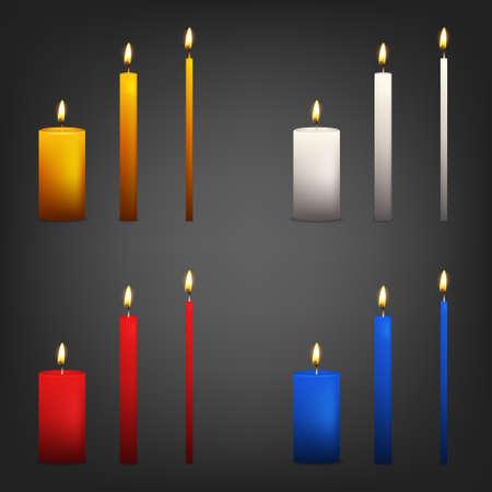 candela: Realistico candela 3d impostato su uno sfondo scuro. Illustrazione vettoriale.