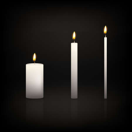 elebration: Realistic 3d candle set on a dark background. Vector   illustration.