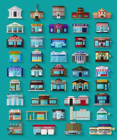 フラットな街の建物やお店のセットです。ベクトルの図。