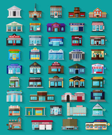 Set of the flat city buildings and shops. Vector   illustration. Vettoriali