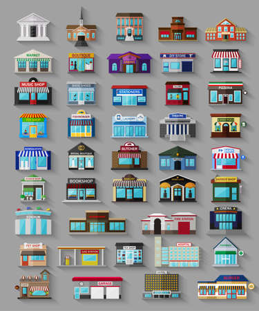 Set of the flat city buildings and shops. Vector   illustration. Иллюстрация