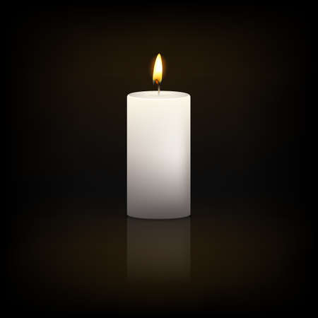 Realistic 3d white candle on a dark background with reflection. Vector   illustration. 일러스트