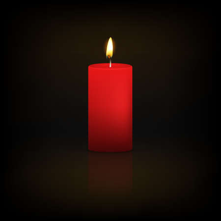Realistic 3d red candle on a dark background with reflection. Vector   illustration. 向量圖像