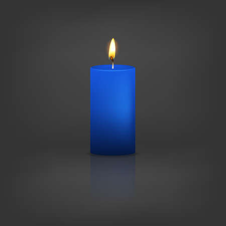 Realistic 3d blue candle on a dark background with reflection. Vector   illustration.