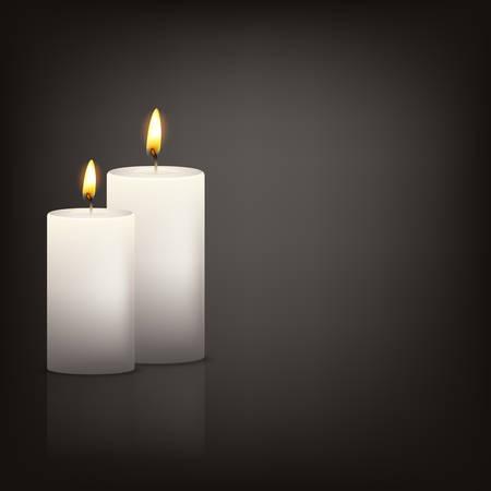 Vector achtergrond met twee realistische 3D-witte kaarsen in het donker met reflectie. Vector illustratie. Stockfoto - 46081316