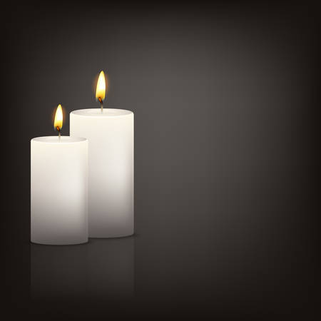 Vector background with two realistic 3d white candles in the dark with reflection. Vector   illustration. Vectores