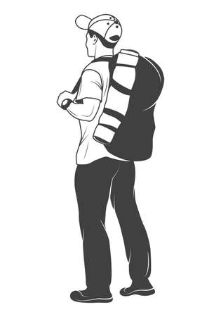 Monochrome tourist with a backpack on a white background. Vector   illustration. Иллюстрация