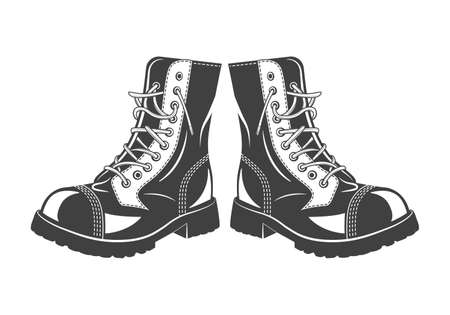 brown leather: Monochrome military jump boots on a white background. Vector   illustration.