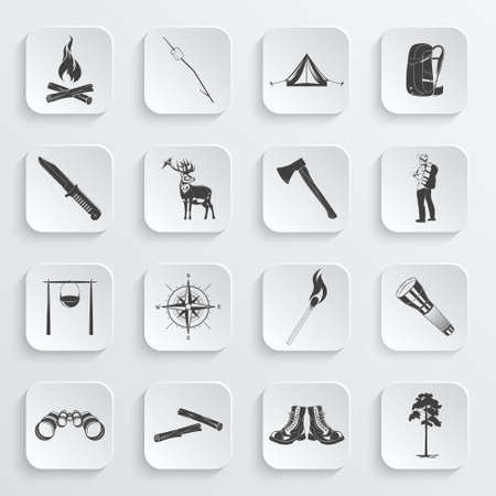 Set if monochrome camping icons. Vector illustration. Vetores
