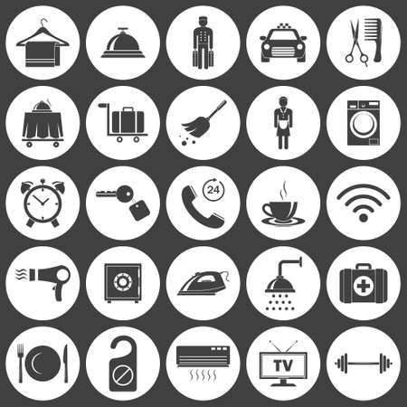 telephone icon: Simple hotel icons set. Vector   illustration. Illustration