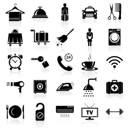 first aid kit key: Simple hotel icons set. Vector   illustration. Illustration