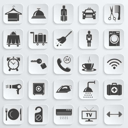 first aid kit key: Simple hotel icons set. Vector  illustration.