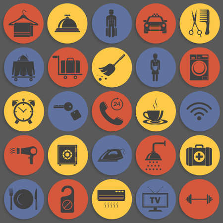 lunch room: Simple hotel icons set. Vector   illustration. Illustration