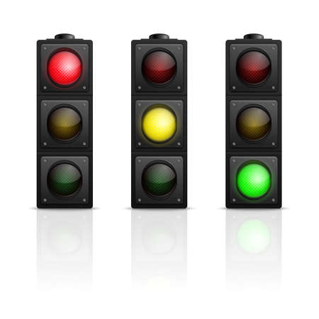 regulate: 3d realistic traffic lights with reflection isolated on white background