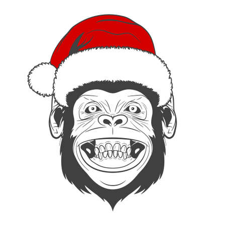 ink drawing: Monochrome Monkey with santa hat isolated on white background. Vector  illustration.