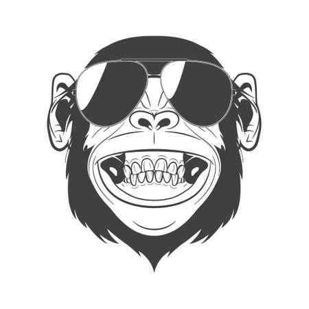 monkey face: Monochrome monkey with sunglasses isolated on white background. Vector  illustration.