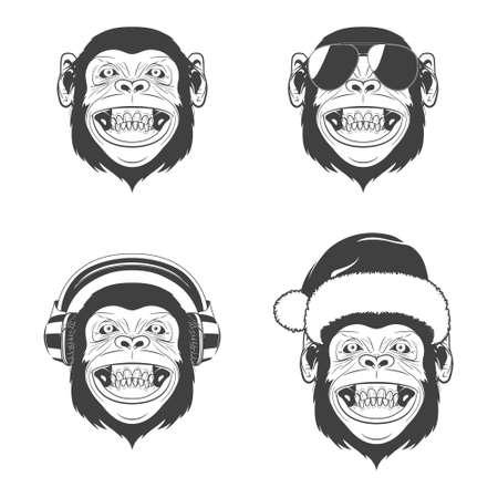 monkey face: Set of monkey heads. Monochrome icons isolated on white background. Vector   illustration. Illustration