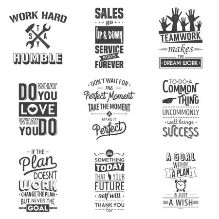 sentence: Set of vintage business motivation typographic quotes. Vector   illustration.