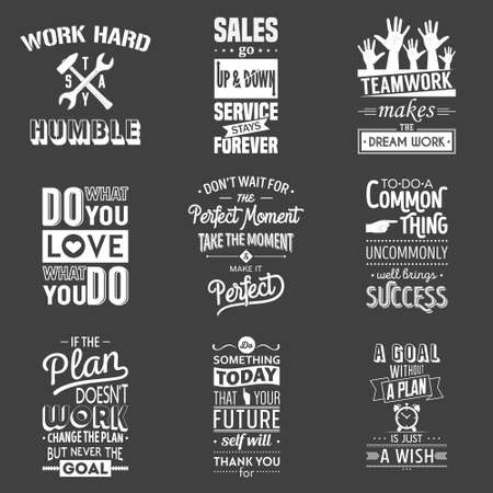 motivation: Set of vintage business motivation typographic quotes. Vector   illustration.
