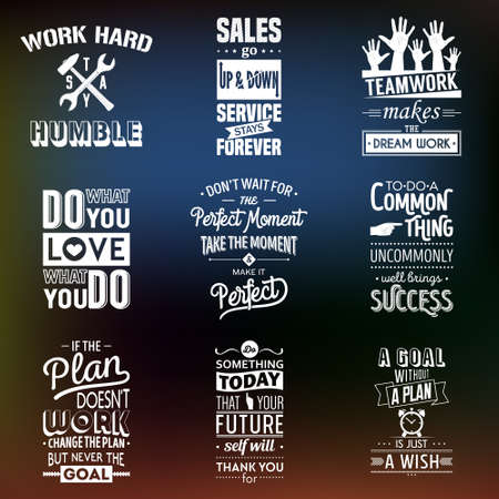 old business man: Set of vintage business motivation typographic quotes. Vector   illustration.