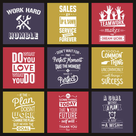 Reeks uitstekende zakelijke motivatie typografische aanhalingstekens. Vector illustratie. Stock Illustratie