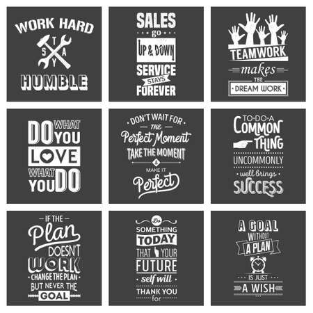 sentence: Set of vintage business motivation typographic quotes. Grunge effect can be edited or removed. Vector   illustration.