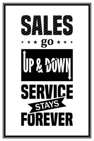판매가 위아래로 이동하고 서비스가 영원히 계속됩니다. - 인쇄상의 견적을 인용하십시오. 벡터 일러스트 레이 션.