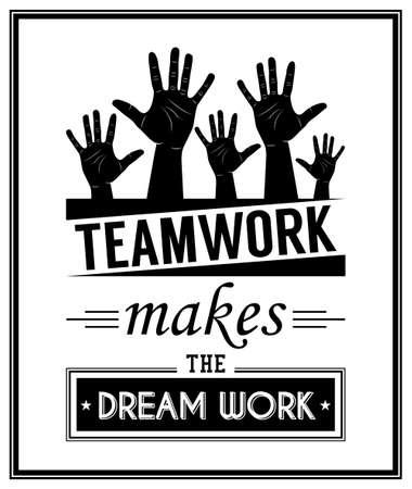 Teamwork maakt de droom werk - Quote typografie Achtergrond. Vector illustratie. Stock Illustratie