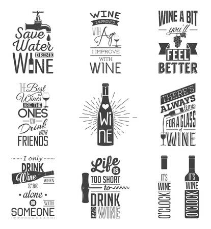 Set of vintage wine typographic quotes. Grunge effect can be edited or removed.   Illustration