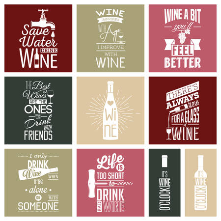 saying: Set of vintage wine typographic quotes.  Illustration