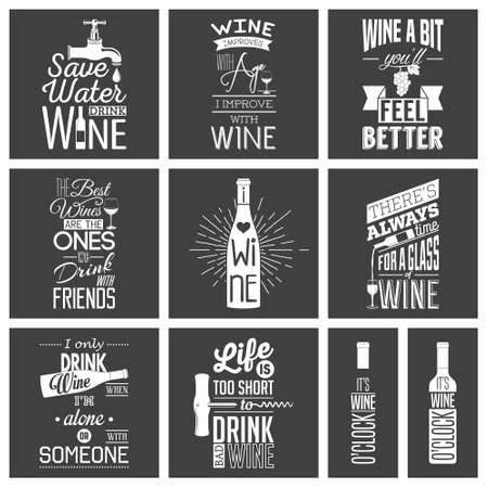 bottle of wine: Set of vintage wine typographic quotes.  Illustration