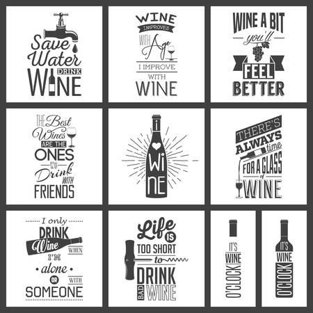 Set of vintage wine typographic quotes.  일러스트