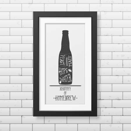 grunge bottle: Anatomy of beer - Typographical Background in realistic square black frame on the brick wall background.  Illustration