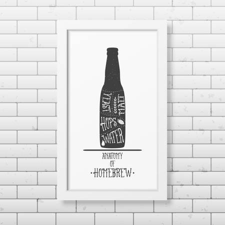 grunge bottle: Anatomy of beer - Typographical Background in realistic square white frame on the brick wall background.