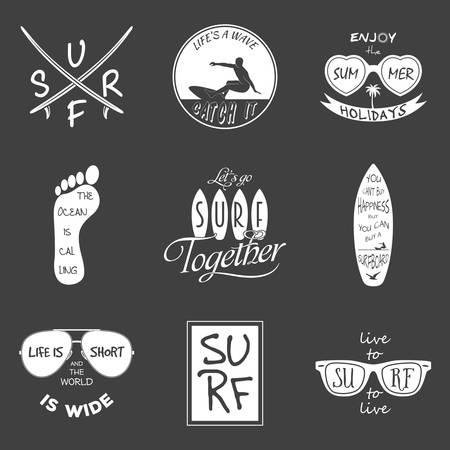 surfer vector: Surfer vector set. Vintage elements and labels. Vector EPS8 illustration.