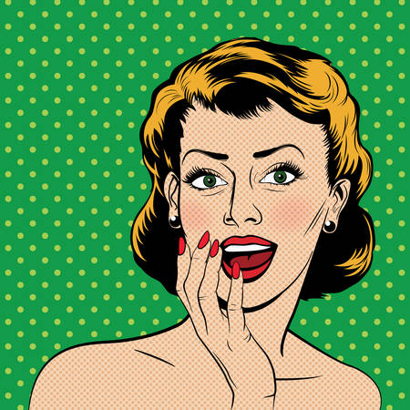 Beautiful surprised woman in the pop art comics style. Vector illustration. Illustration