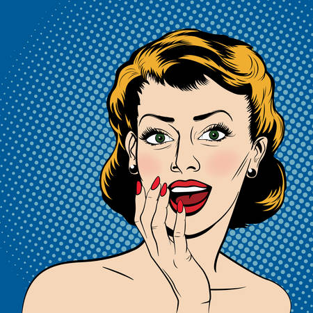 Pop アート コミック スタイルで美しい驚く女性。ベクトルの図。