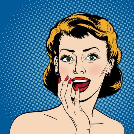 Schöne überraschte Frau in der Comic-Stil Pop-Art. Vektor-Illustration. Standard-Bild - 47670986