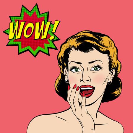 sorpresa: Mujer sorprendida hermosa en el estilo de cómic del arte pop. Ilustración vectorial EPS10.