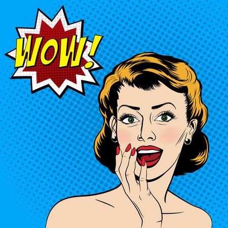 cara sorprendida: Mujer sorprendida hermosa en el estilo de cómic del arte pop. Ilustración del vector.