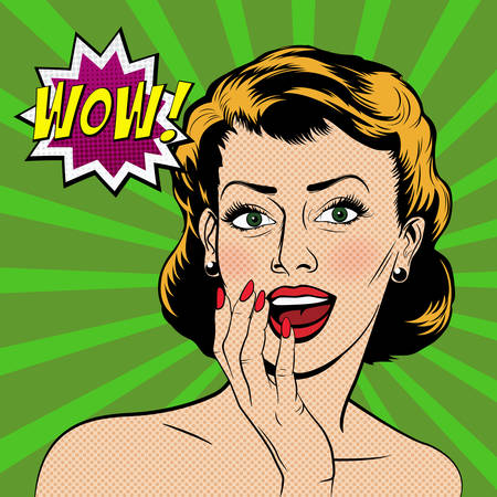 gift accident: Beautiful surprised woman in the pop art comics style. Vector illustration. Illustration