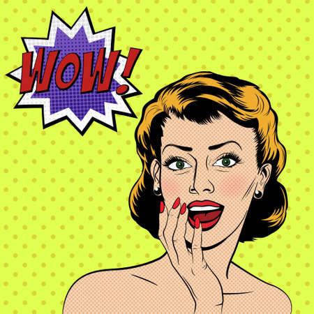 cara sorprendida: Mujer sorprendida hermosa en el estilo de c�mic del arte pop. Ilustraci�n del vector.