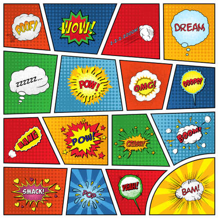 Set of comic sound effects. Vector EPS10 illustration. Çizim