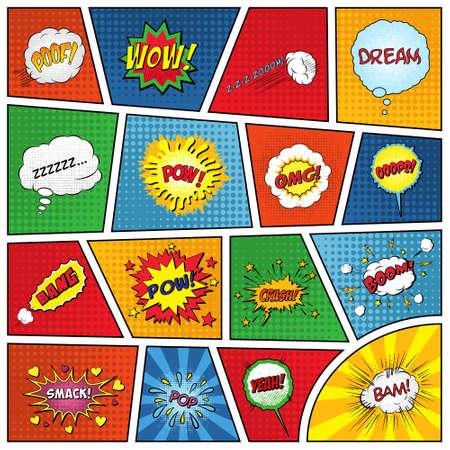 Set van komische geluidseffecten. Vector EPS10 illustratie. Stock Illustratie